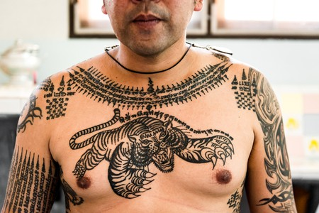 Ancient thai culture sak yant tattoo designs