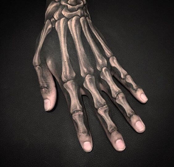 Gothic style skeleton hand tattoo images