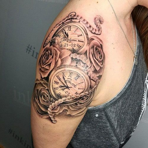 Clock Tattoos For Women Feminine Design