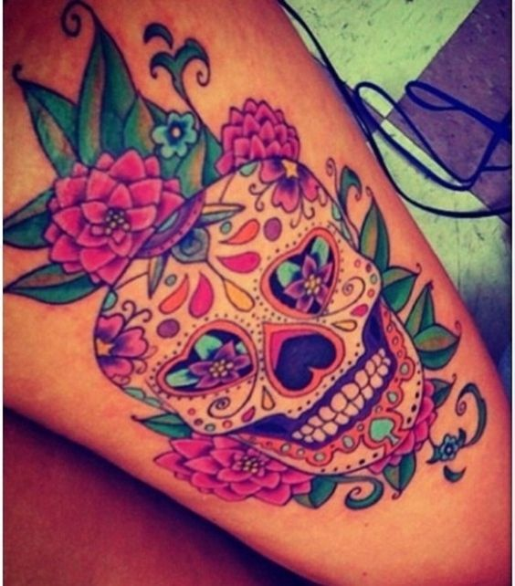 Amazing Female Sugar Skull Tattoo