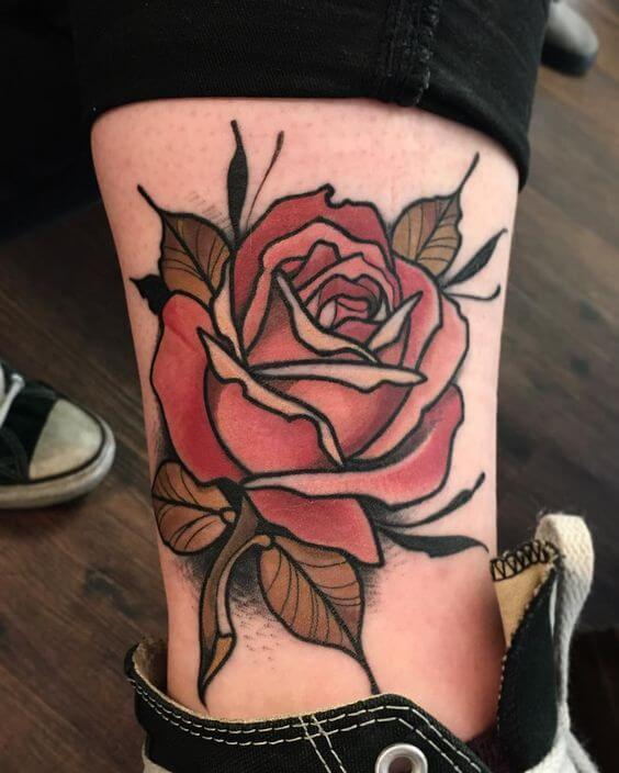 Beautiful Neo Traditional Rose Tattoo
