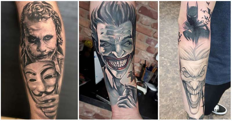 Black and blue version of the joker tattoo