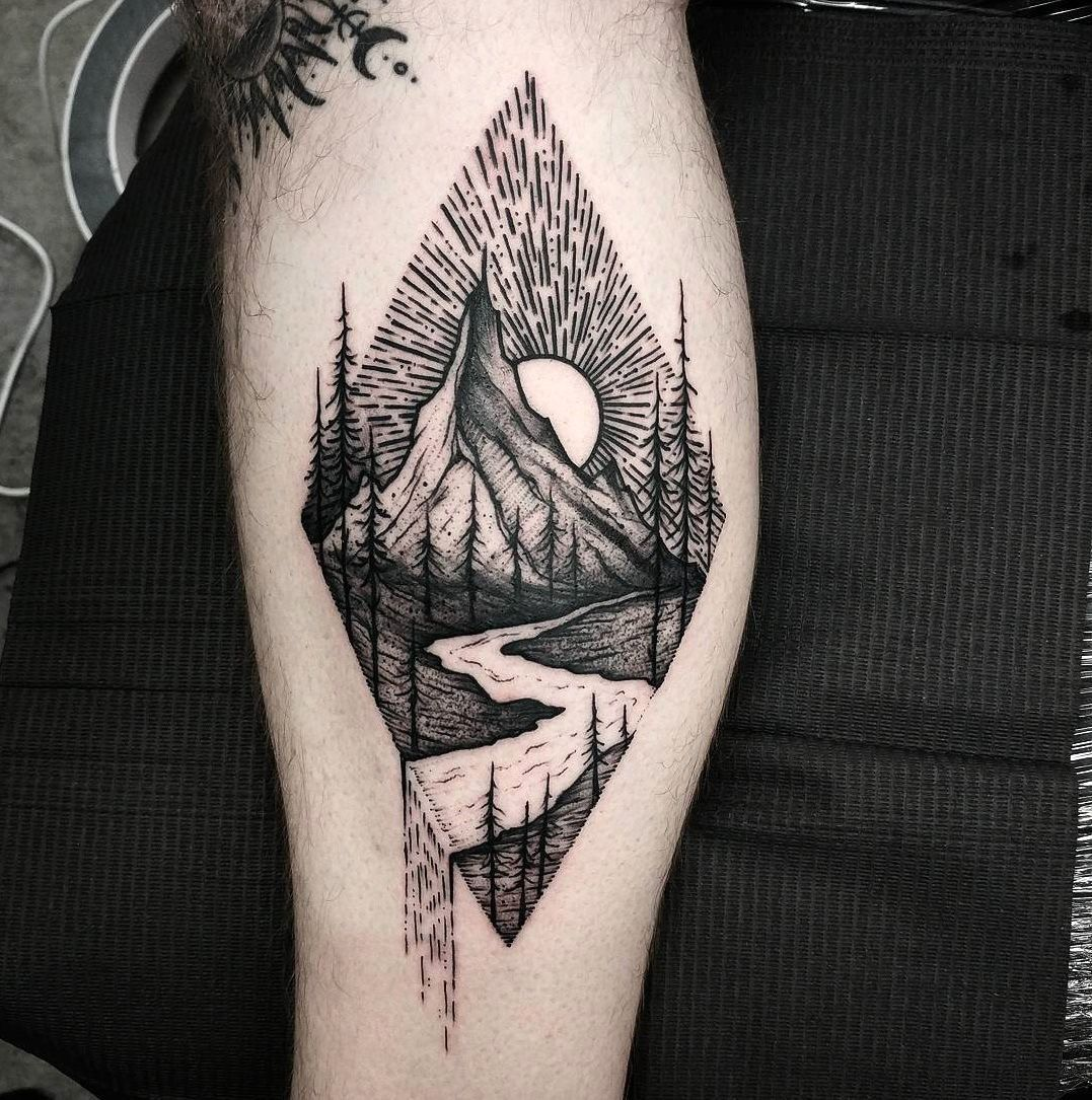Modern Tattoo ideas for a Landscape Tattoo on the Forearm