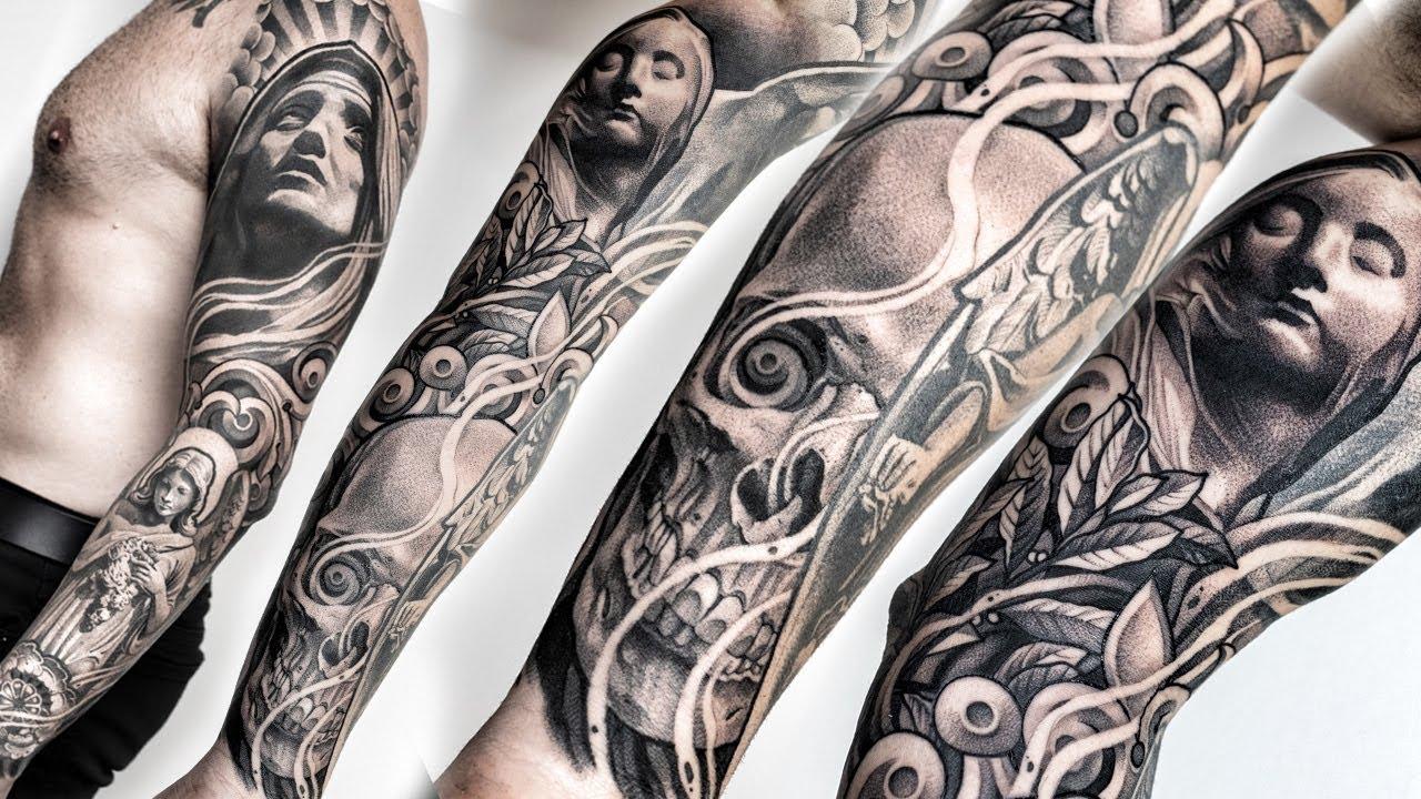 Beautiful realism tattoo sleeve Design