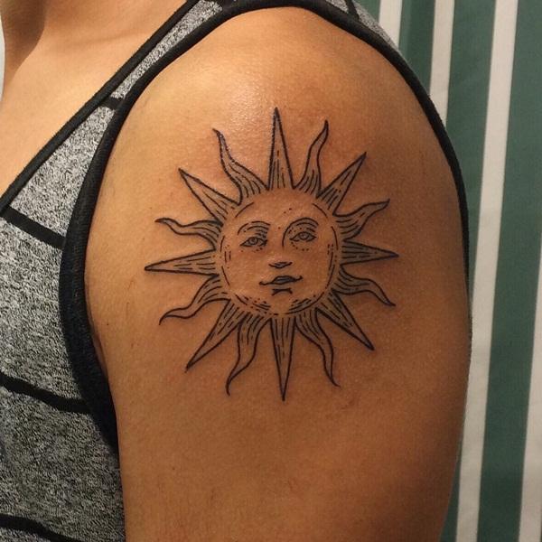 Beautiful Sun Face Tattoo