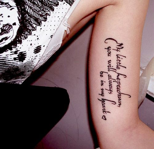 Word tattoos on Arm design Ideas for Your Arm